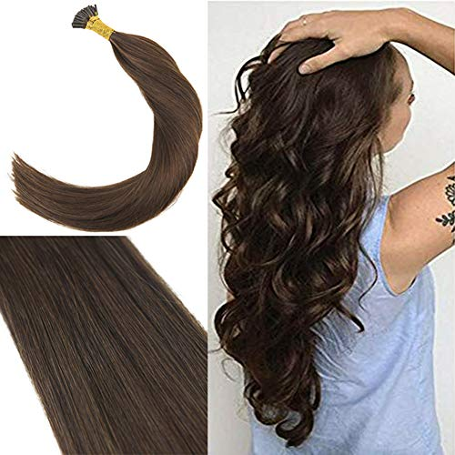 Youngsee Pre bonded I Tip Hair Extensions Remy Silky Straight Keratin I Tip Fusion Human Hair Extensions Chocolate Brown #4 20inch 50 Strands Total 50g/pack (Keratip Extensions)
