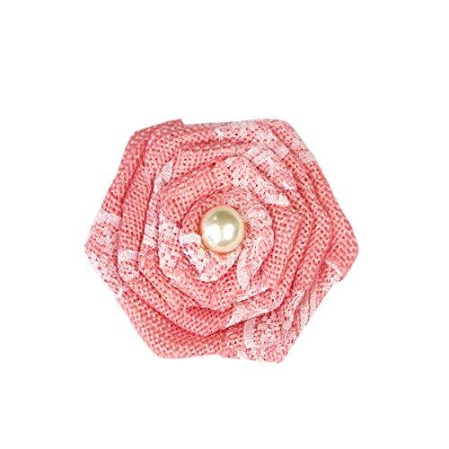 (Wrapables Burlap Lace Rosette 3 Inch Diameter (Set of 12), Pink )