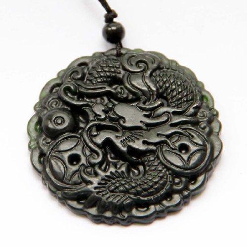 Dark Color Stone Carved Fortune Zodiac Dragon Amulet Pendant