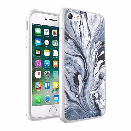 iPhone X Hülle, einzigartige Custom Design Prodective harte zurück dünner dünner Fit PC Bumper Case Kratzfeste Abdeckung für iPhone X White & Smoke Black- Marmor Design 060