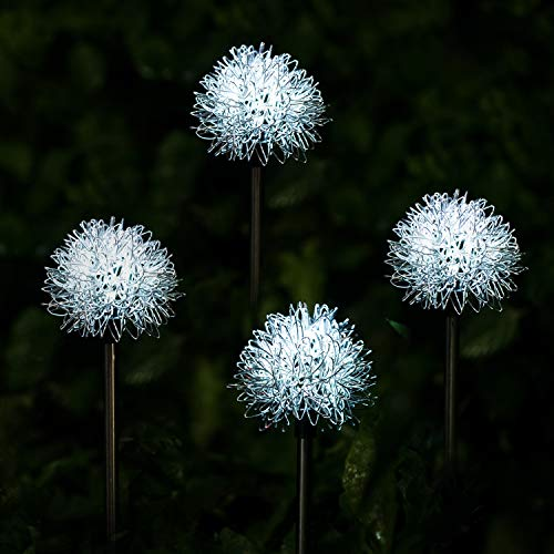 YIYAYIYAYO Solar Garden Light Outdoor, 4 Pack Solar Powered Decorative Stakes Night Lights with Dandelion Flower, LED Landscape Lighting for Garden/Yard/Lawn/Patio/Walkway/Driveway/Backyard-White