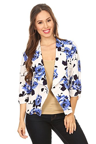 HEO CLOTHING Women's Regular and Plus Size Solid, Printed Open Blazer Cardigan Jacket Made In USA (M, F03-W.Blue)