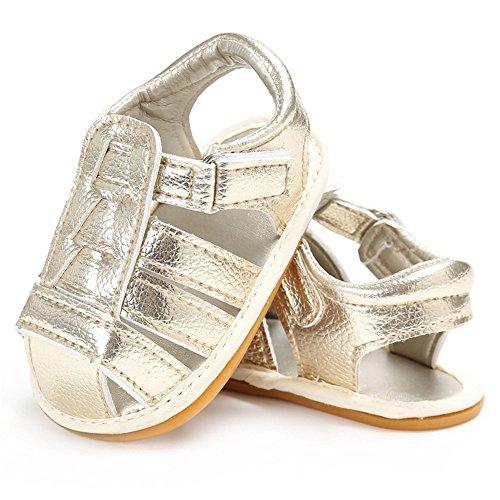 Sandalias de bebé Zapatos de verano para bebés Zapaticos para los primeros pasos Dorado