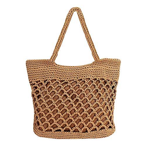 Sherry Handbag Women Fashion Woven Straw Bag Summer Large Beach Tote Bag Travel Shopper Shoulder Bags (Light Brown)