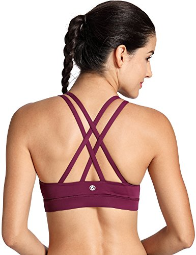 CRZ YOGA Women's Wirefree Padded Strappy Back Workout Yoga Sports Bra Dark Violet M