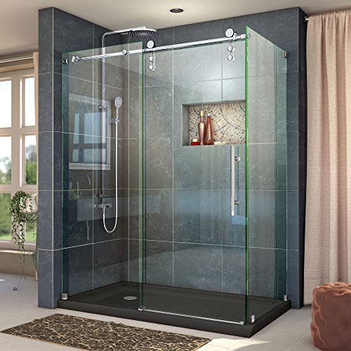 DreamLine Enigma-Z 34 1/2 in. D x 48 3/8 in. W x 76 in. H Fully Frameless Sliding Shower Enclosure in Polished Stainless Steel, SHEN-6234480-08