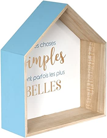 The Home Deco Factory Etagere Forme Maison 2 Pcs Bois Bleu