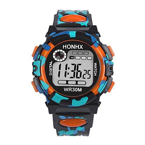 Relojes Digitales para niños, Reloj de Pulsera Impermeable LED para Exteriores para niños niños Naranja: Amazon.es: Relojes