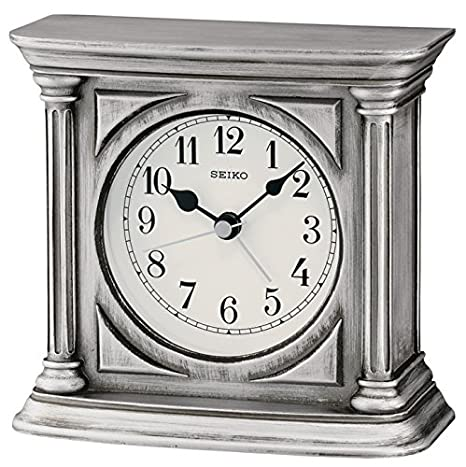 Seiko Reloj de sobremesa con Alarma, Acabado Antiguo Madera, Plata: Amazon.es: Hogar