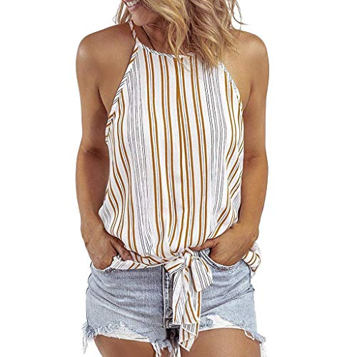 Yxiudeyyr Womens Sleeveless Halter Tops Striped Print Cami Tank Vest Casual Shirts Knotted Front Blouse Yellow
