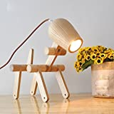 DMMSS Creative Bedroom Stylish Solid Wood Desk Study Lamp Bedside Lamp Children Small Dog Table Lamp Shape Led Lamp