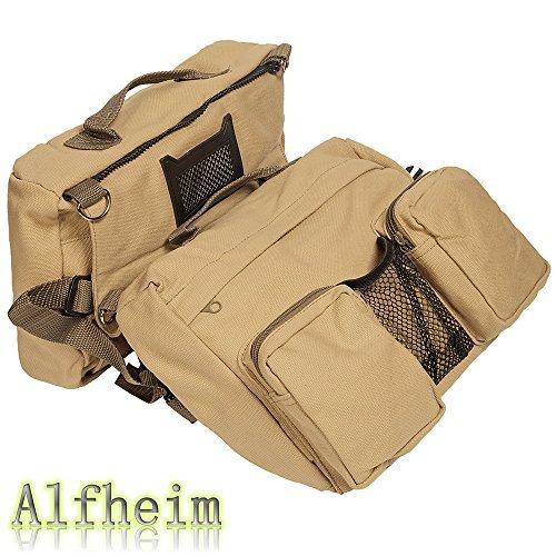 Alfheim Cotton Canvas Dog Pack Hound Travel Camping Hiking Backpack Saddle Bag Rucksack for Medium & Large Dog