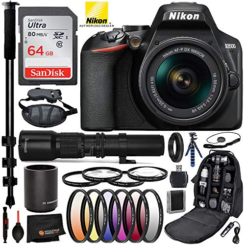 Nikon D3500 DSLR Camera with 18-55mm Lens (#1590), 500mm Telephoto Lens, 2X Converter, and T Mount Adapter w/Advance Bundle; Includes: SanDisk Ultra 64GB Memory Card, Pro Camera Bag, and More
