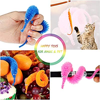 Blulu Magic Worm Toys Wiggly Twisty Fuzzy Worm Toys Carnival Party Favors, Random Color (48 Pieces): Toys & Games
