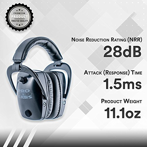 Pro Ears - Pro Tac Slim Gold - Military Grade Hearing Protection and Amplification - NRR 28 - Ear Muffs -  Lithium 123a Batteries - Black by Pro Ears (Image #2)