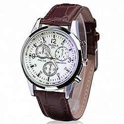Fitfulvan Fashion Elegant Business Fashion Luxury Faux Leather Men Blue Ray Glass Quartz Analog Watche