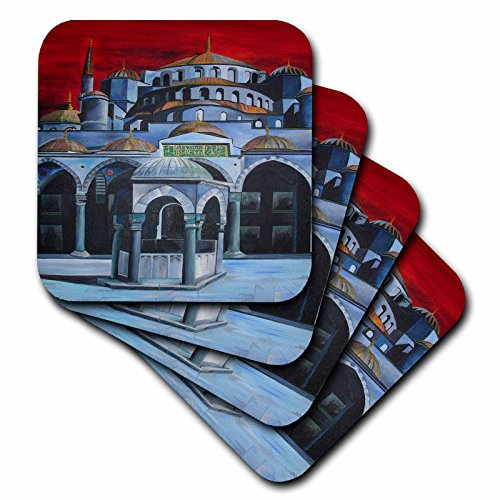 Ahmed Sultan Mosque (3dRose cst_18279_2 Istanbul Sultan Ahmed Mosque Soft Coasters, Set of 8)