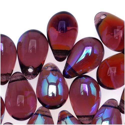 Jablonex Czech Glass Beads 9mm Teardrop Amethyst Purple AB (50) Czech Pressed Glass Drop