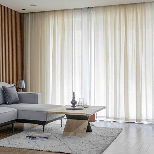 Home Brilliant Sheer Curtains White Voile Window Curtains for Window Treatment