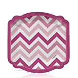 Big Dot of Happiness Chevron Pink - Party Dessert Plates (8 count)
