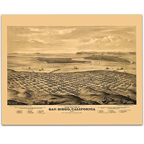 Panoramic Map Ca - 1876 San Diego California Panoramic Map Art Print - 11x14 Unframed Art Print - Great Vintage Home Decor Under $15