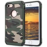 NUGEN-PRO iPhone 7 case,iPhone 7 case Defender Shockproof Drop proof High Impact Armor Plastic and Leather TPU Hybrid Rugged Camouflage Case for Apple iPhone 7 - Camo Green (4.7-inch)