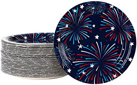 Disposable Plates - 80-Pack Fireworks Paper Plates American Party Supplies for 4th of July Patriotic Party Favors 7 x 7 Inches  sc 1 st  Amazon.com & Amazon.com: Disposable Plates - 80-Pack Fireworks Paper Plates ...