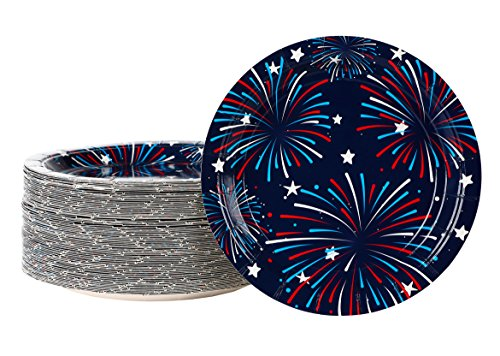 Disposable Plates - 80-Pack Fireworks Paper Plates American Party Supplies for America-Themed, Patriotic Parties, 7 x 7 Inches -