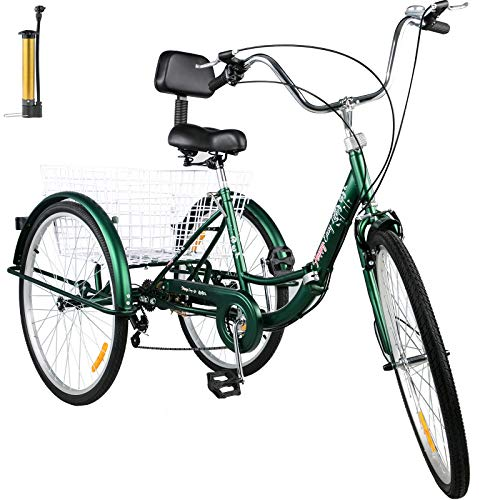 Bkisy Tricycle Adult 26'' 7-Speed 3 Wheel Bikes for Adults