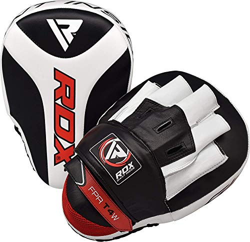 RDX Boxing Pads Focus Mitts MMA Muay Thai Hook and Jab Curved Kickboxing Training Strike Target Hand Pads Martial Arts Maya Hide Leather Punching Shield