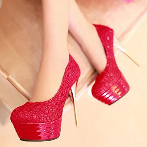 Sexy Easemax Laces Toe Platform Heels Dressy Shoes Womens Stiletto Super Red High On Slip Pumps Round EEAaCBqxwn