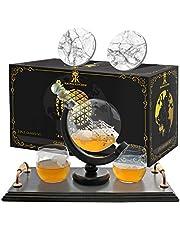 Globe Whiskey Decanter Set. Includes 2 Whiskey glasses, 2 coasters, and wood base