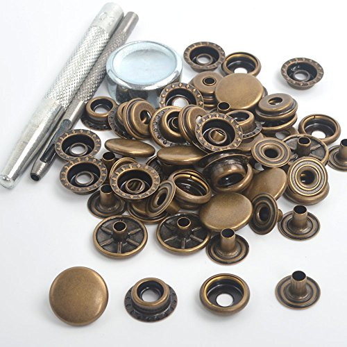 15 Sets 12.5/15/17mm Antique Brass Snap Fasteners Press Studs Sewing Buttons For Clothing ,Jackets, Jeans, Bags, Straps and Other Sewing Projects Clothes Repair (17mm 15 Sets w/Tool) (Antique Snaps Brass)