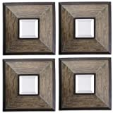 Uttermost 16'' Fendrel Squares, S/4 Mirror Distressed Wood Finished In A Aged Pecan Accented by Uttermost