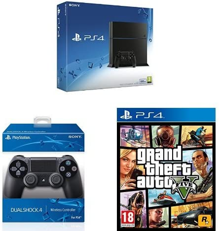 PlayStation 4 (PS4) - Consola 500GB + Grand Theft Auto V (GTA V) + 2º Mando: Amazon.es: Videojuegos