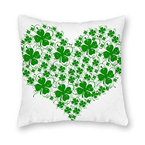 Yameeta St. Patricks Day Cotton Linen Green Home Decor Throw Pillow Case Cushion Cover 18 x 18 Inch(Saint Patricks Heart of The Lucky Clover)