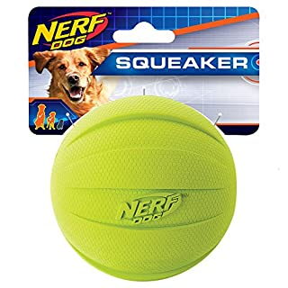 Nerf Dog Rubber Ball Dog Toy with Squeaker, Lightweight, Durable and Water Resistant, 4 Inch Diameter for Medium/Large Breeds, Single Unit, Green