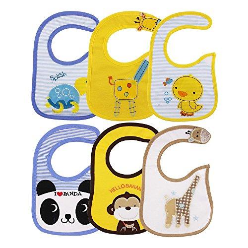 6Pcs Baberos para bebés,Baberos impermeables Para Bebe Niña Niño Dibujos Animados Multicolor