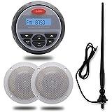 Waterproof Marine Radio FM AM Audio Bluetooth Stereo Sound System 4 Inch 2 Way White Marine Boat Waterproof Speakers With Radio Flexible Aerial