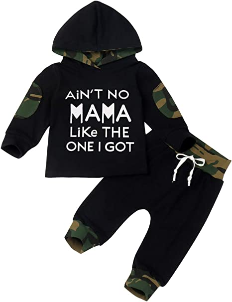 Camouflage Pants Summer Breathable Outfit Set Toddler Baby Boy Clothes Long Sleeve Funny Letter Sweatshirt Top