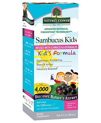 Nature's Answer Bioavailable Sambucus Kids Formula | 4-Fluid Ounces | Kosher Certified Organic Elderberry Syrup | Great Taste & Gluten-Free | Dietary Supplement | No Artificial Preservatives