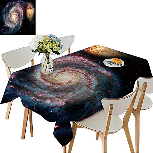 Companion Square Tent - UHOO2018 100% Polyester Tablecloth Whirlpool Galaxy and Companion Winding arms of The Spiral Galaxy M or NGC Appear Square/Rectangle Multicolor,50 x102inch