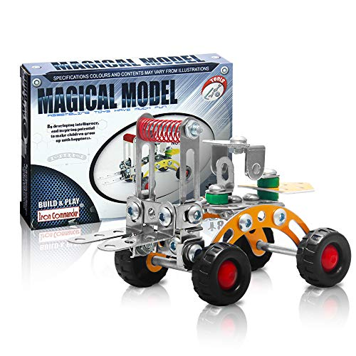 IRON COMMANDER Erector Set Mini Construction Vehicles Toy Vehicle Play Kit,80 to 86 Parts,STEM Education Toy for Ages 8 and Up (Forklift)