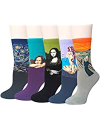 5 Pairs Womens Famous Painting Art Printed Funny Casual...
