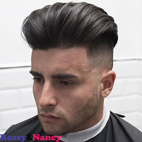 Rossy&Nancy Skin Men's Toupee Hairpiece Real Human Hair Replacement Natural Black Color Wigs for Men Thin Skin Base (7.1x7.9inch)