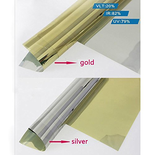 HOHO Mirror Silver Gold Solar Reflective Window Film One Way Privacy Tint for Home Office Store Glass 60''x66ft by HOHO