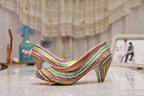 Mzll029 Evening Wedding Satin Minitoo Party Pompe Prom Confortevole nbsp;donna Handmade Scarpe Cristalli Multi Color 6dd8Aqw