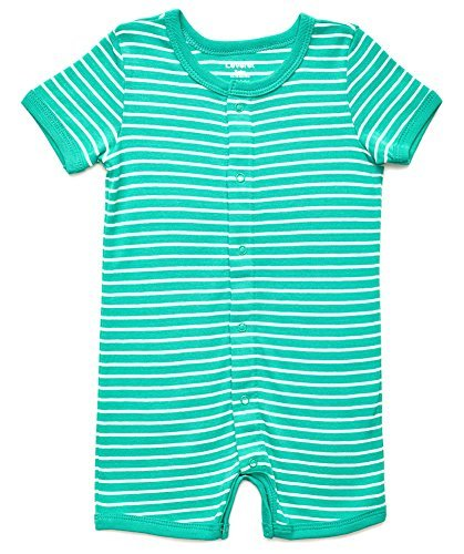 Leveret Baby Romper Boys Girls Short Sleeve Snap up Stretchie Pajamas 100% Cotton (3-24 Months) Variety of Colors