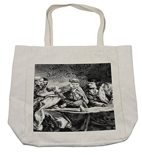Lunarable Victorian Shopping Bag, Christopher Columbus at the Court of King Ferdinand and Queen Isabella America, Eco-Friendly Reusable Bag for Groceries Beach Travel School & More, (Easy Christopher Columbus Costume)