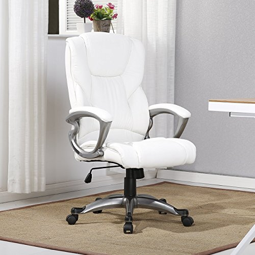 (Executive Leather Office Chair Computer Work Desk High Back (White))